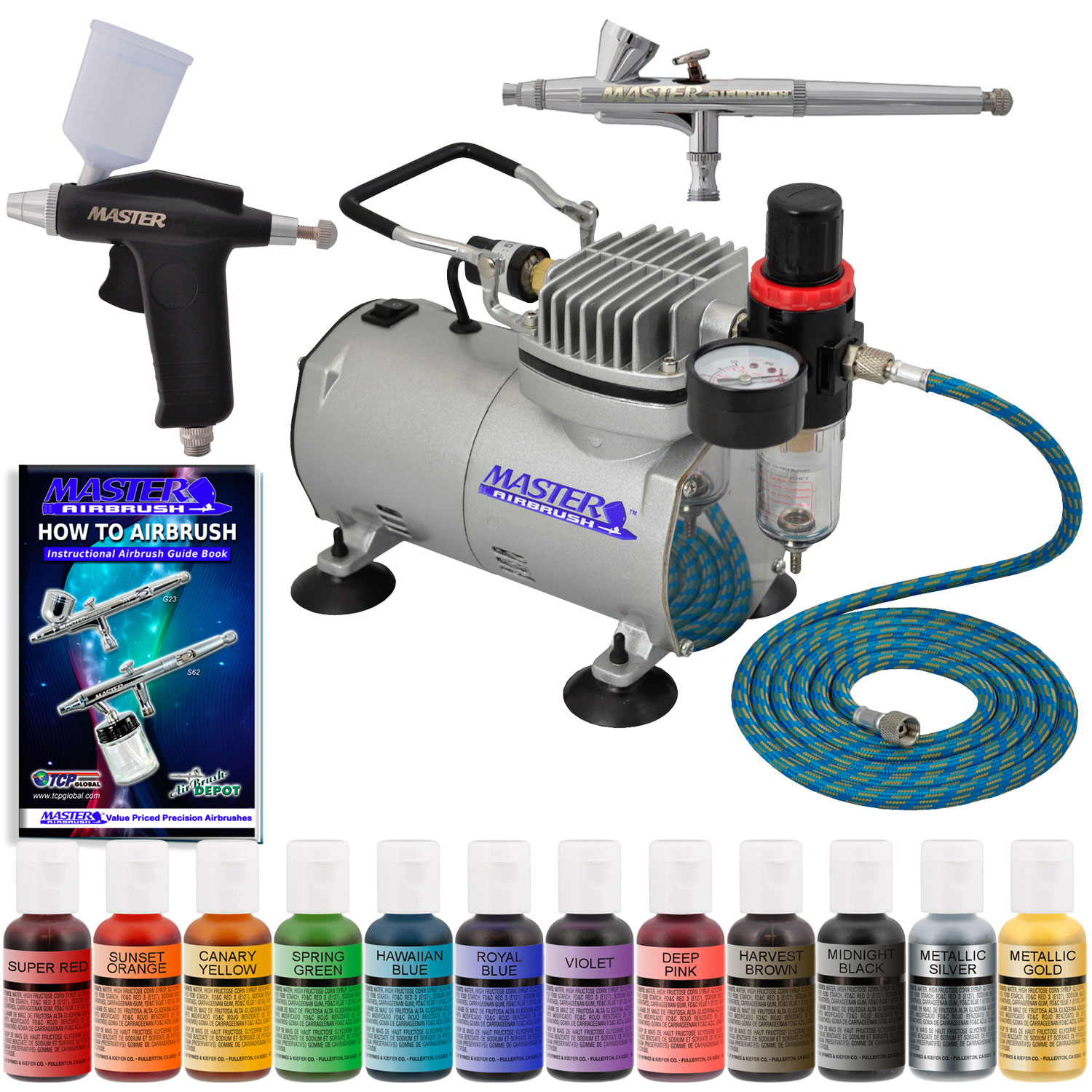 2 Airbrush Cake Decorating Compressor Kit, 12 Color Chefmaster Food ...