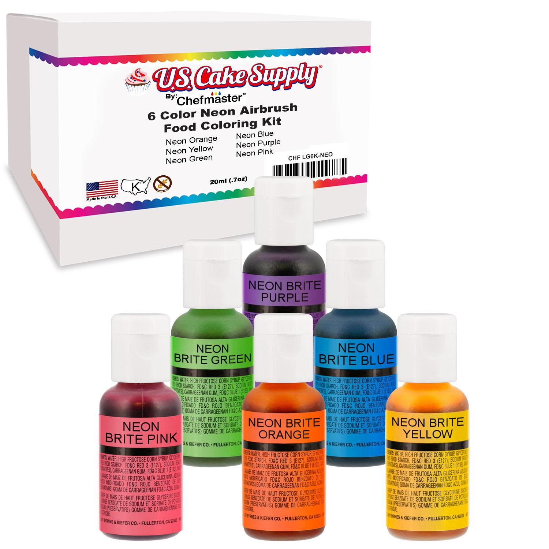 Details zu 6 Color Cake Food Coloring Liqua-Gel Neon Set .75 fl. Oz. (20ml)  Bottles