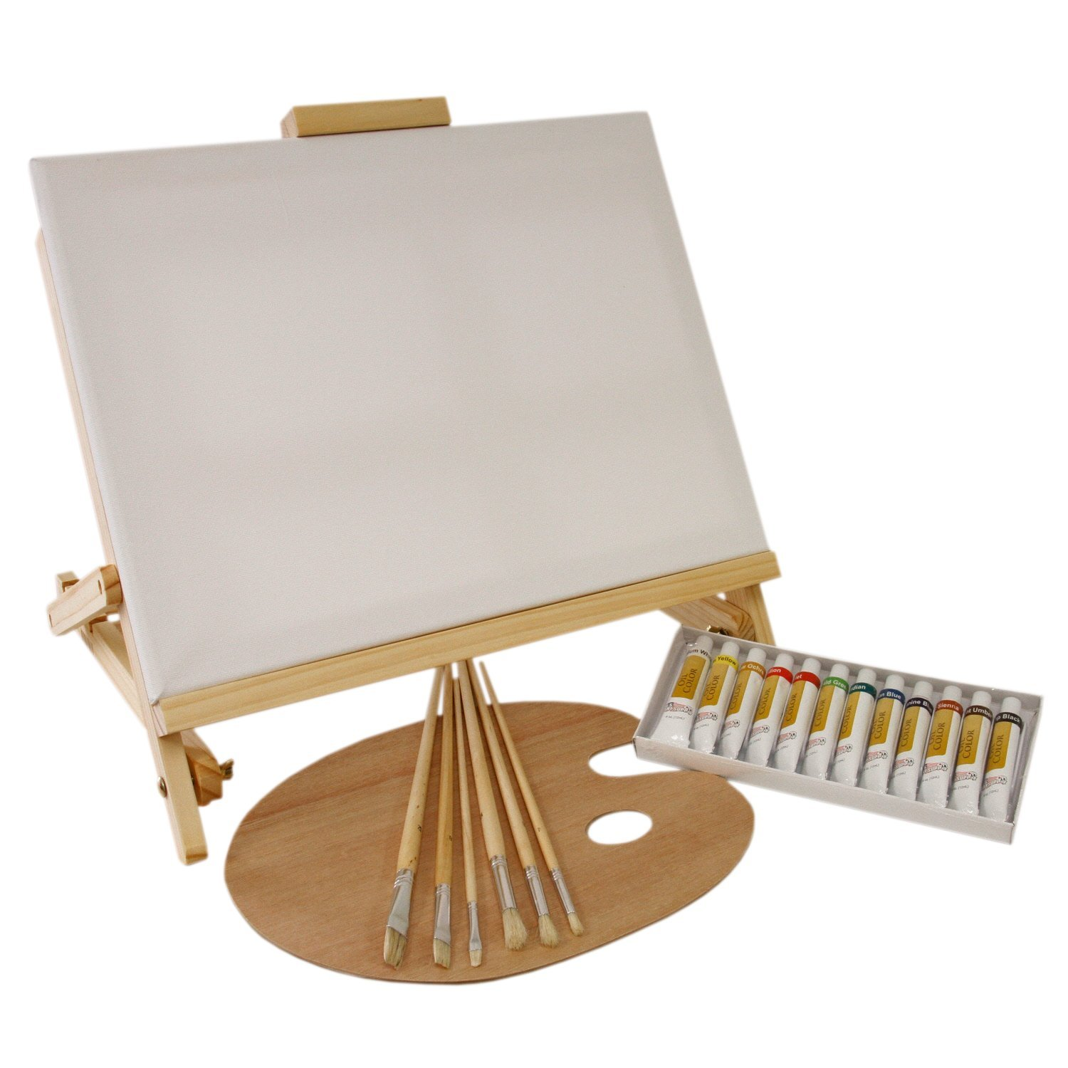 us art supply 21 piece oil painting set with table easel