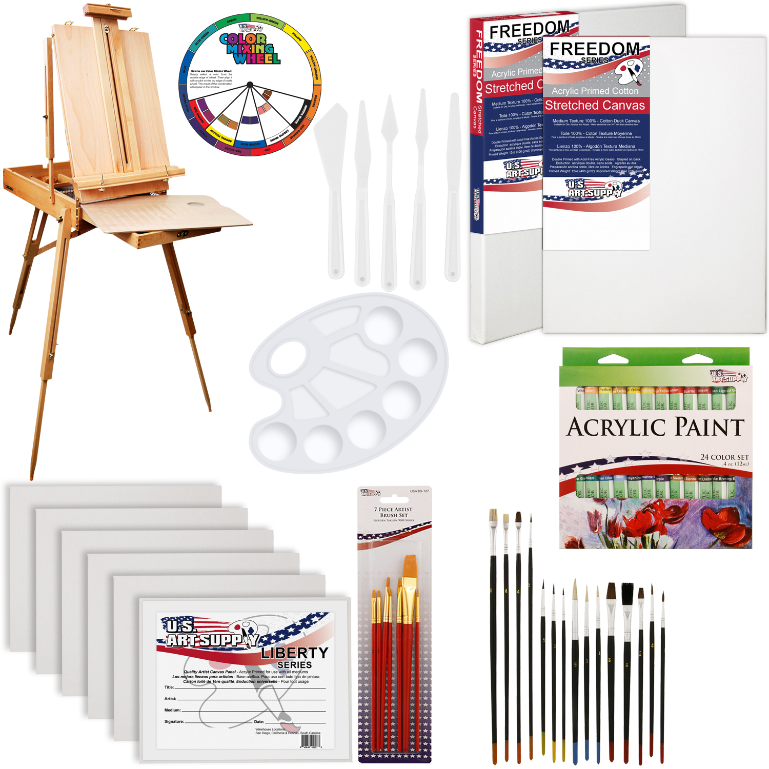 62 Piece Artist Acrylic Painting Kit W French Easel
