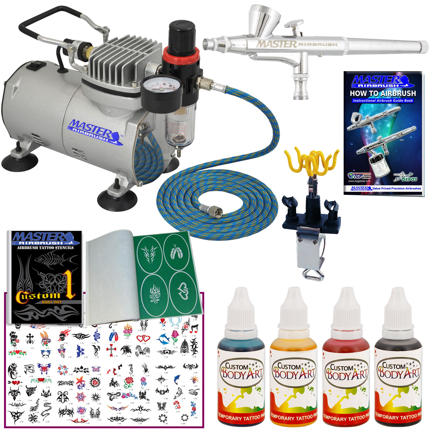 Complete TEMPORARY TATTOO AIRBRUSH AIR COMPRESSOR KIT Body