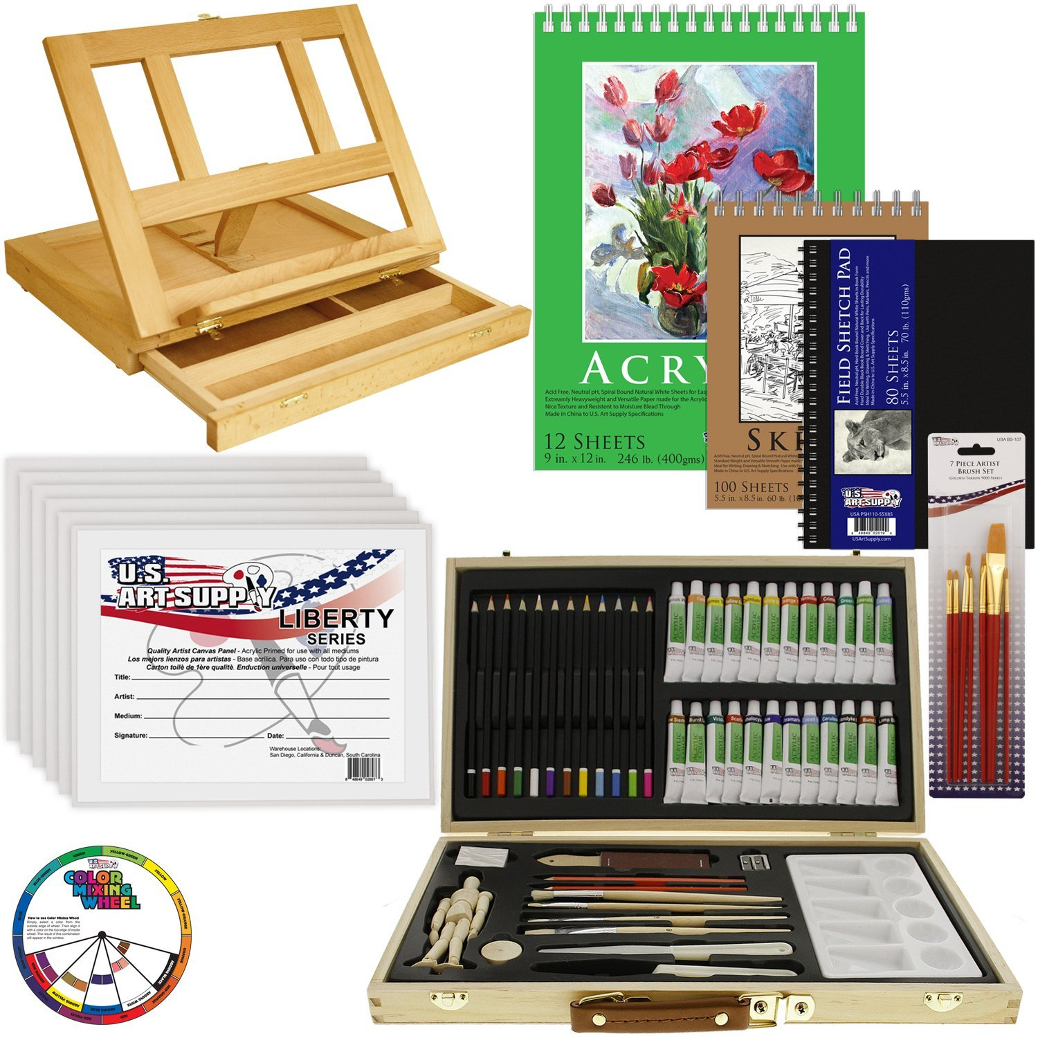 68pc Artist Acrylic Painting Set Wood Table Easel Paint Canvas