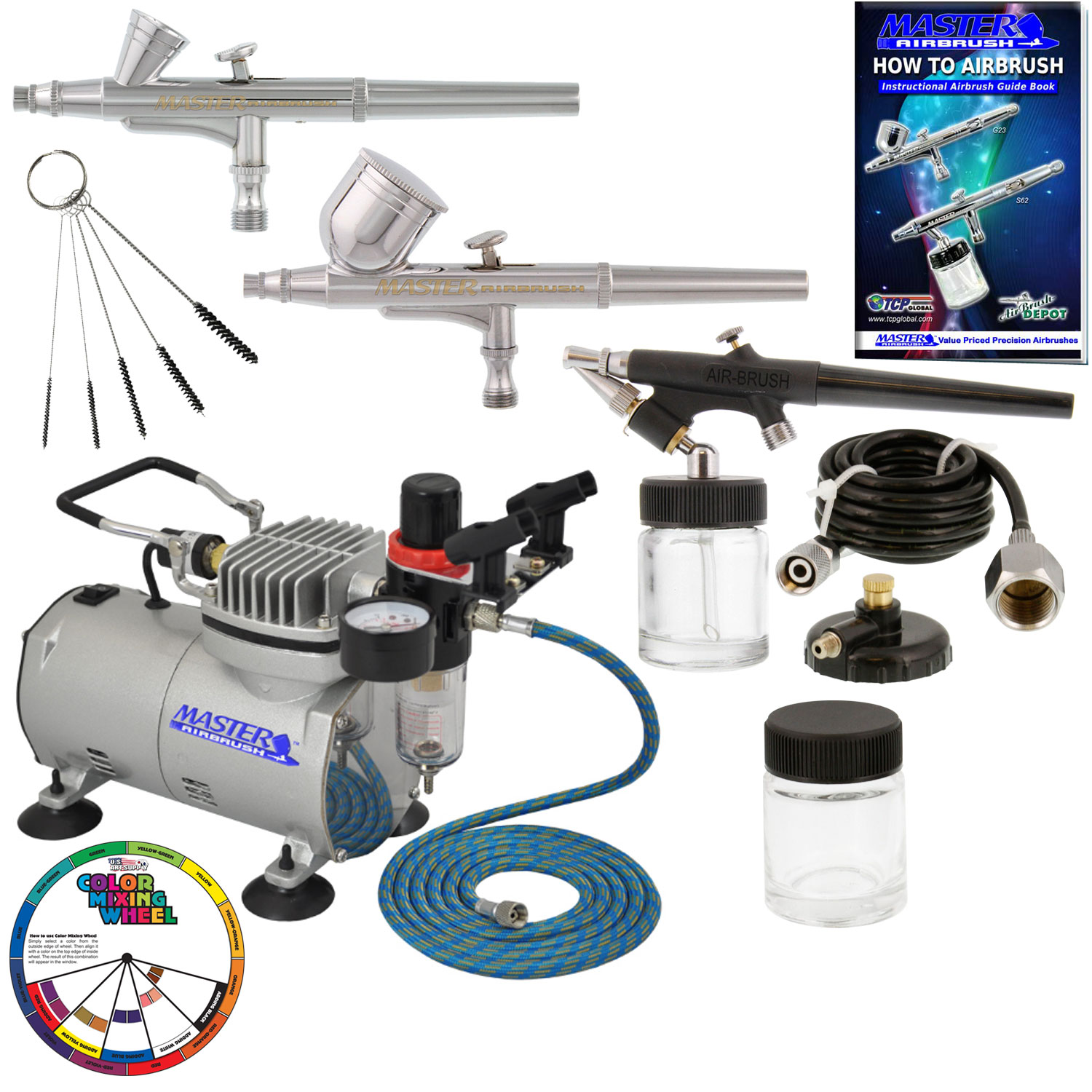 New 3 Airbrush Compressor Kit Dual Action Spray Air Brush Set