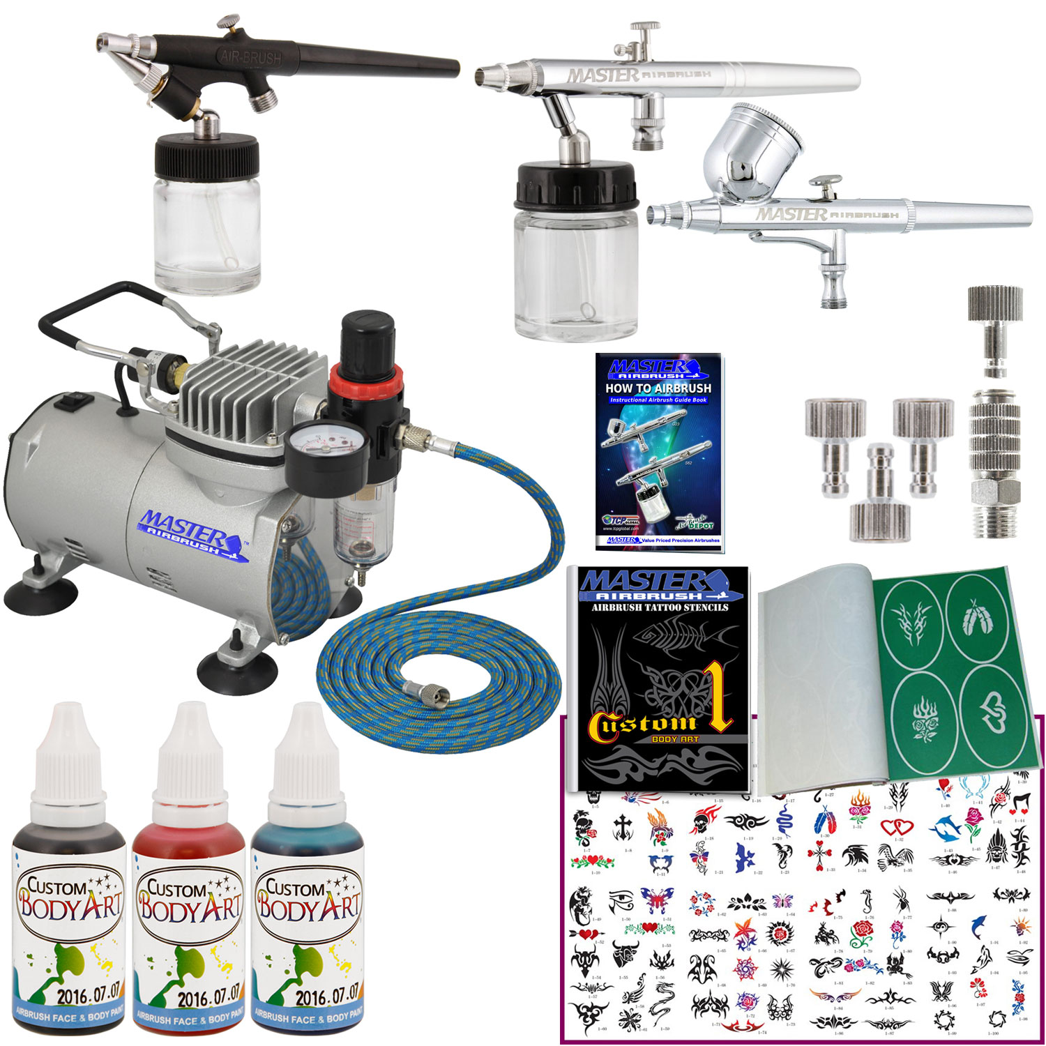 3 airbrush temporary tattoo system air compressor kit body for Temporary tattoo kit online