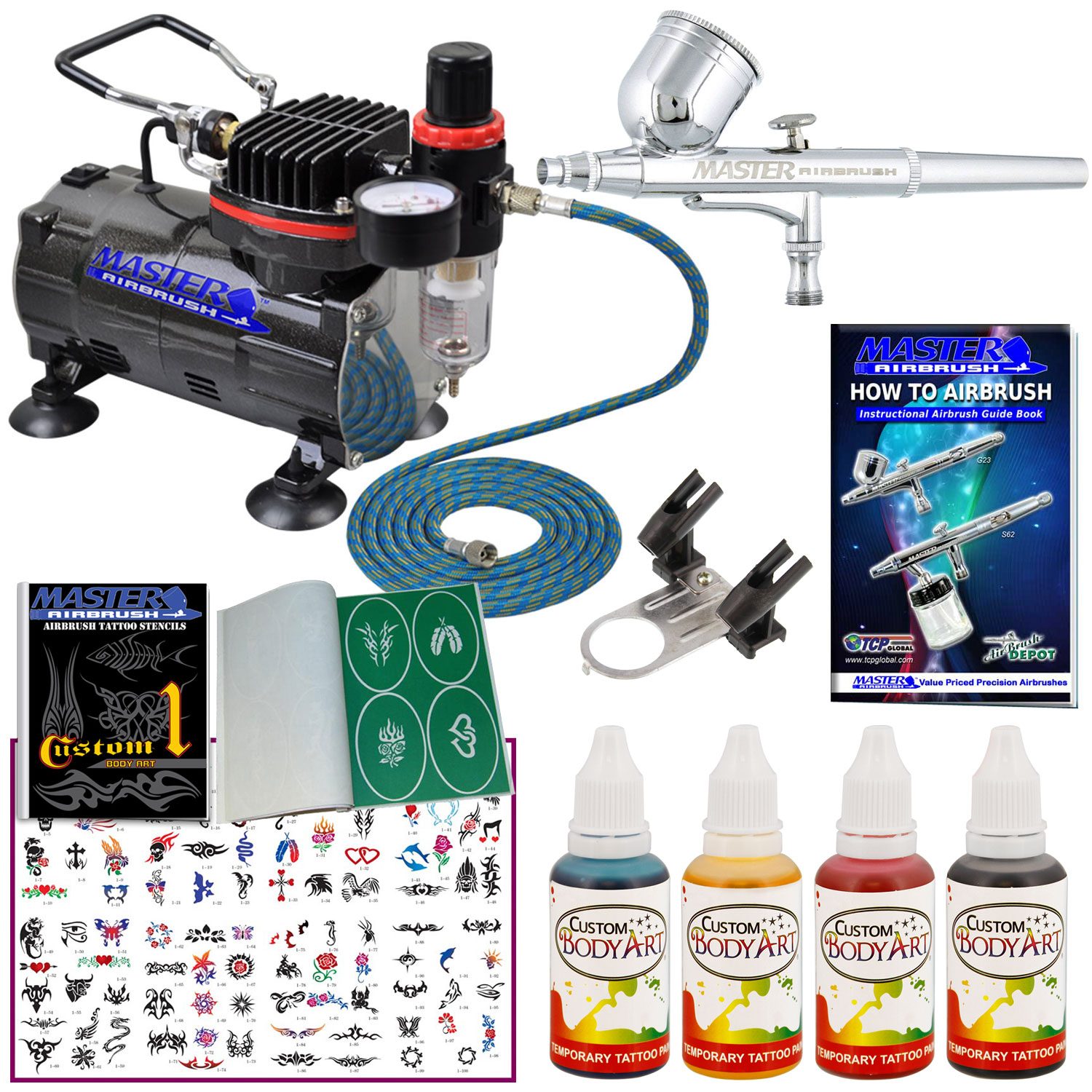 Body art airbrush system compressor temporary tattoo paint for Airbrush tattoo paint