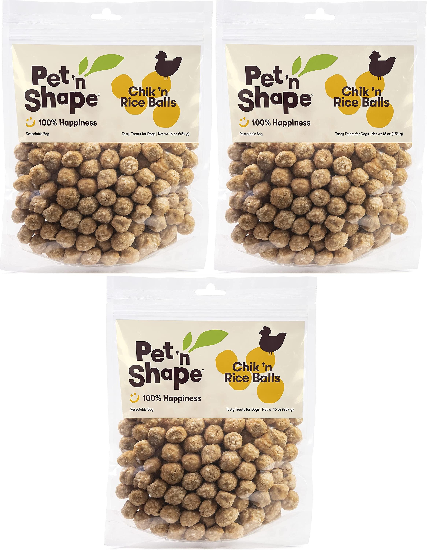Pet 'n Shape Chicken Dog Treats, Chik 'n Rice Balls, 1 Pound, 3 Pack