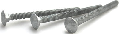 "3/8-16 x 5"" Carriage Bolts / Steel / Hot Dip Galvanized"