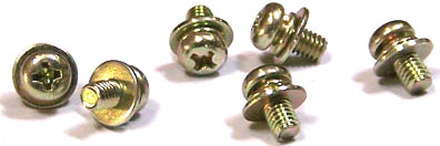 M3-0.5 x 6 mm SEMS Screws / Double Washer / Phillips / Pan Head / Steel / Zinc Yellow