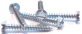 "#8 x 1/2"" Type AB Self-Tapping Screws / Serrated / Slotted / Hex Washer Head / 18-8 Stainless Steel"