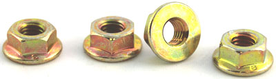1/4-20 Toplock Hex Flange Nuts / Steel / Zinc Yellow