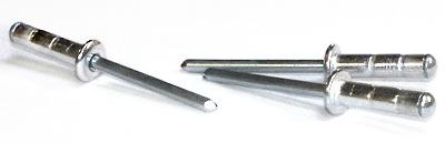 "3/16"" x .500""-.781"" Dome Head Multi-Grip Rivets / Aluminum Body / Steel / Zinc Mandrel"