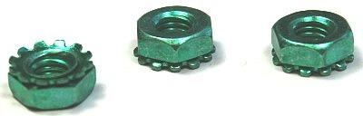 1/4-20 Hex Keps Nuts / Steel / Zinc Green