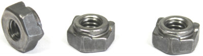 M8-1.25 Hex Weld Nuts / 3 Projections & Center Pilot Ring / 18-8 Stainless Steel / DIN929