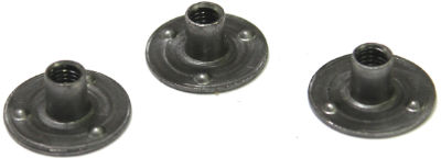 "1/4-20 Round Base Weld Nuts / 3 Projections / Steel / Plain / 5/16"" Barrel Height"