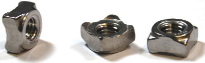 M5-0.8 Square Weld Nuts / 4 Projections / 18-8 Stainless Steel / DIN928