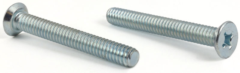 "1/4-28 x 5/8"" Machine Screws / Phillips / Flat Undercut Head / Steel / Zinc"