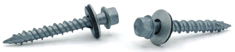 #10 x 2 Pole Barn Screws / Unslotted / Hex Washer Hd / Type 17 / Steel / Mechanical Galvanized / Bonded Neoprene Washer