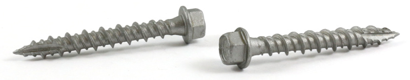 """#9 x 2"""" Pole Grip Screws / Unslotted / High Hex Washer Head w/Shoulder / Type S / Steel / High-Corrosion Resistant Silver Ruspert"""