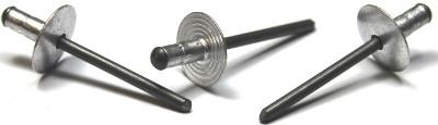"3/16"" x .250""-.500"" Dome Head / Large Flange Multi-Grip Rivets / Aluminum Body / Steel / Black Phos Mandrel"