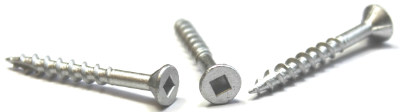 "#8 x 1 5/8"" Deck Screws / Square / Flat Head / Type 17 / Steel / High-Corrosion Resistant Silver Ruspert"