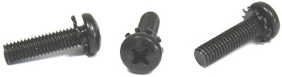 "10-24 x 3/8"" SEMS Screws / External Tooth Washer / Phillips / Pan Head / Steel / Black Oxide"