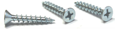 "#6 x 1/2"" Deep Thread Wood Screws / Phillips / Flat Head / Type 17 Pt / Steel / Zinc"