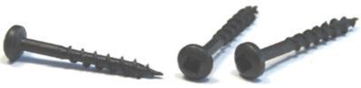 "#6 x 1 1/2"" (#7 Head) Deep Thread Wood Screws / Face Framing / Square Drive / Pan Head / Type 17 / Steel / Black Oxide"