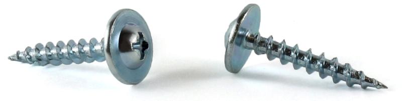 "#8 x 1"" Deep Thread Wood Screws / Phillips / Round Washer Head (#10 Head) / Steel / Zinc"
