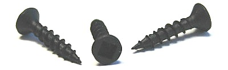 "#8 x 3/4"" Deep Thread Wood Screws / Square / Flat Head / Steel / Black Oxide / No Nibs"