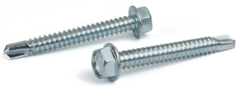 "#14 x 3"" Self-Drilling Screws / Unslotted / Hex Washer Head / 410 Stainless Steel"