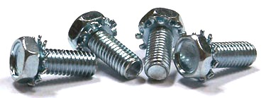 "1/4-20 x 3/8"" SEMS Screws / External Tooth Washer / Unslotted / Hex Head / Steel / Zinc"