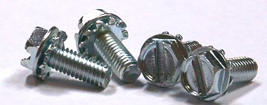 """6-32 x 3/8"""" SEMS Screws / External Tooth Washer / Slotted / Hex Washer Head / Steel / Zinc"""