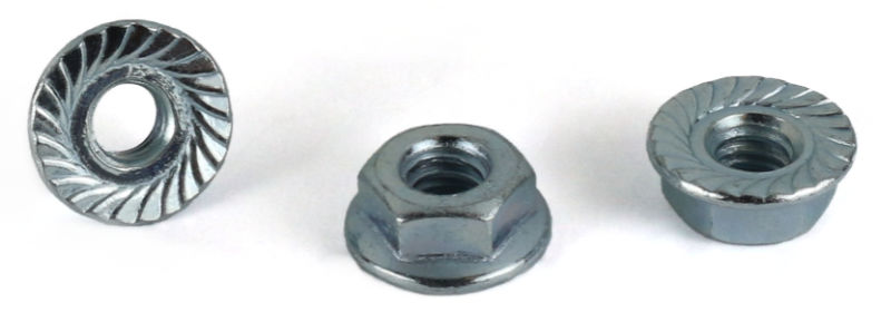 M4-0.7 Hex Flange Locknuts / Serrated / 18-8 Stainless Steel / DIN6923