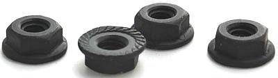3/8-16 Serrated Hex Flange Locknuts / Steel / Black Oxide