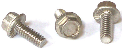 "6-32 x 3/8"" Serrated Hex Flange Screws / Unslotted / Steel / Zinc"