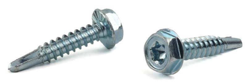 """#14 x 3/4"""" Self-Drilling Screws / Six-Lobe (Torx®) / Hex Washer Head / Steel / Zinc / Serrated"""