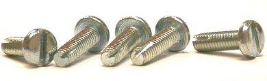 "4-40 x 3/8"" Type 1 Thread Cutting Screws / Slotted / Pan Head / Steel / Zinc"