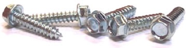 "#10 x 3/8"" Type AB Self-Tapping Screws / Unslotted / Hex Washer Head / Steel / Zinc"
