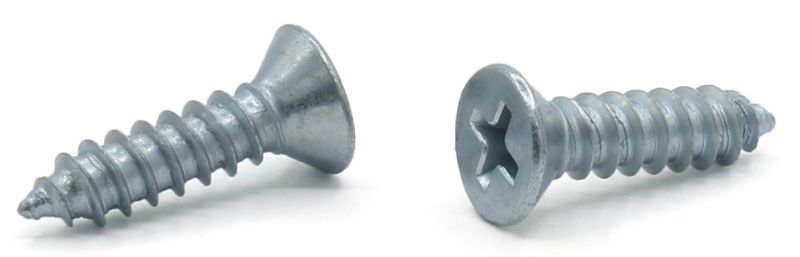 "#7 x 1 1/4"" Type AB Self-Tapping Screws / Phillips / Flat Head / Steel / Zinc"