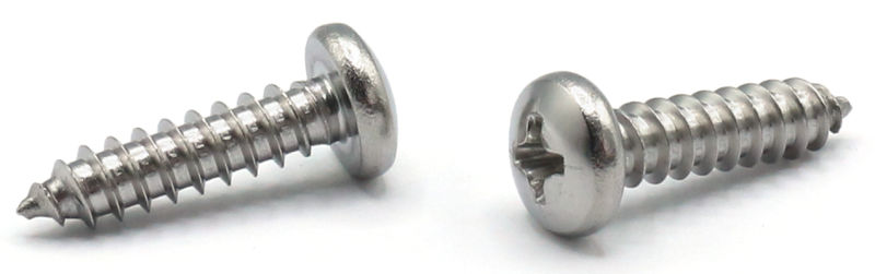 "#8 x 7/8"" Type AB Self-Tapping Screws / Phillips / Pan Head / 18-8 Stainless Steel"