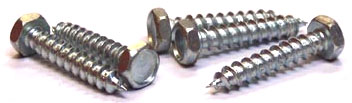"#10 x 1"" Type A Self-Tapping Screws / Unslotted / Hex Head / Steel / Zinc"