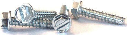 "#14 x 3/8"" Type B Self-Tapping Screws / Slotted / Hex Washer Head / Steel / Zinc"
