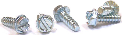 "#10 x 1/2"" Type B Self-Tapping Screws / Slotted / Hex Washer Head / Steel / Zinc / Serrated"