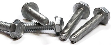 """10-32 x 3/4"""" Trilobe Thread Forming Screws for Metal / Unslotted / Hex Washer Head / Steel / Zinc"""