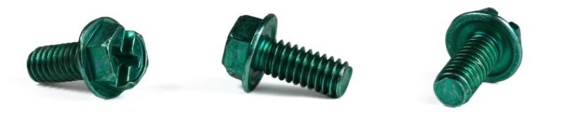 """8-32 x 3/8"""" Machine Screws / Combo / Hex Washer Head / Steel / Zinc Green"""