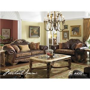 Michael Amini Tuscano Traditional Leather Arm Chair