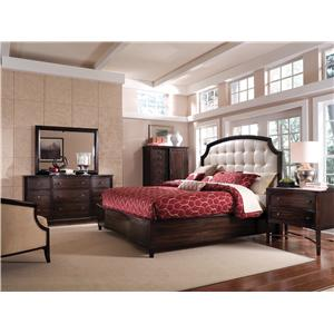 A.R.T. Furniture Inc Intrigue 4-Door Sideboard with Linen Panels & Metal Fretwork