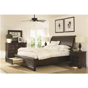 Aspenhome Bayfield King Size Sleigh Bed with Adjustable Bed Slats
