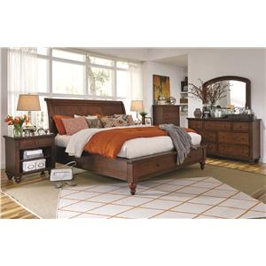 Aspenhome Cambridge California King-Size Bed with Rounded Panel Headboard & Low-Profile Two-Drawer Storage Footboard
