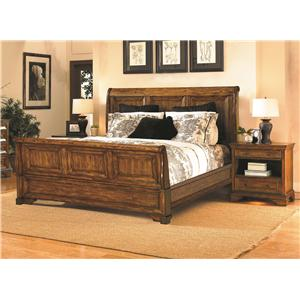 Aspenhome Centennial Queen-Size Sleigh Bed with Cedar-Lined Storage Drawers